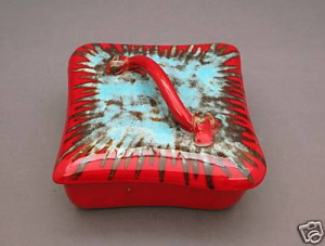 Red and Turquoise Box with Lid