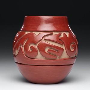 Teresita Naranjo, Santa Clara Pueblo Redware Jar – Avanyu