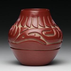 Teresita Naranjo, Santa Clara Pueblo Redware Jar – Feathers/Avanyu
